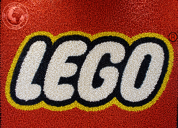 LEGO logo made from Minifigs