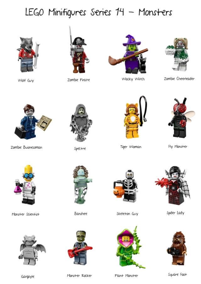 Series 14; minifigures; monsters; lego
